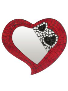 Mirror~Large Fractured Heart Mosaic Mirror-30cm~Fair Trade by Folio Gothic Hippy 1525